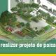 A imagem mostra uma renderizacao do terreno realizada com um software para projeto de paisagismo e espacos ao ar livre