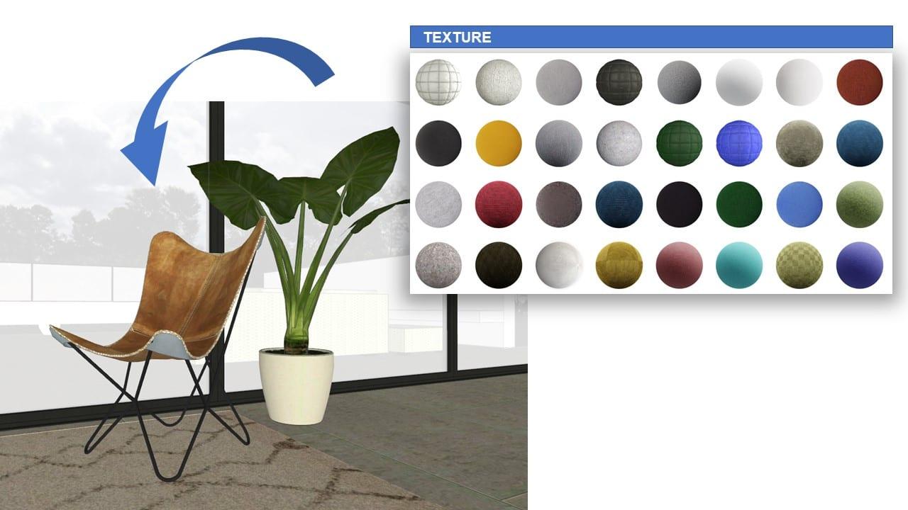 A imagem mostra uma cadeira de madeira perto de uma planta. No canto superior direito da imagem, há uma caixinha com várias texturas, e uma seta azul que ponta para a cadeira. A imagem é uma renderização realista produzida com o Edificius.