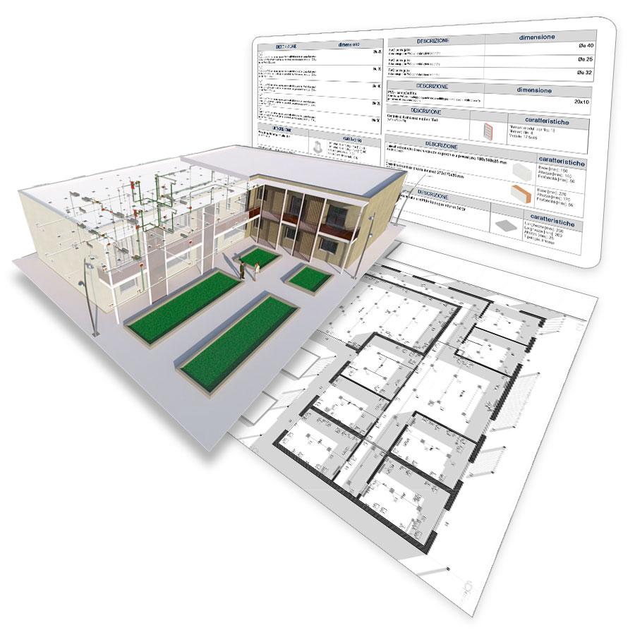 A imagem mostra uma prancha grafica do Edificius MEP