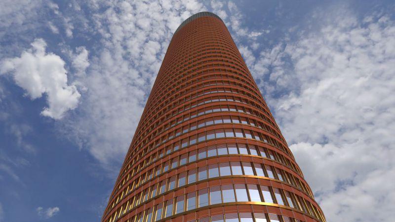 Edificius User eXperience Torre Sevilla vista externa do arranha-ceu render realizado com o Edificius