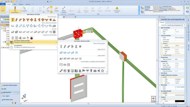 A imagem mostra um tela dentro do programa Edificius MEP para modelagem de instalacoes eletricas. A imagem mostra o ambiente para modelagem 3D e como inserir uma peca