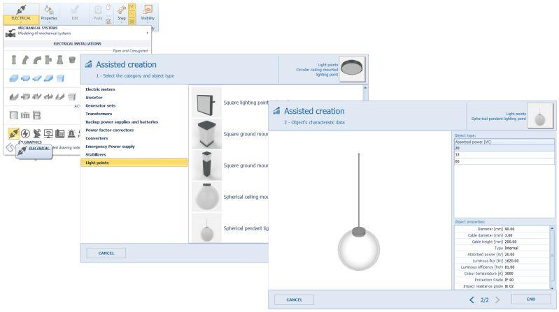 A imagem mostra a criacao de novos objetos MEP ao modelar instalacoes eletricas