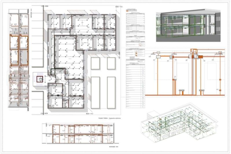 A imagem mostra a documentacao de projeto, incluindo varios cortes que mostram o caminho das instalacoes eletricas