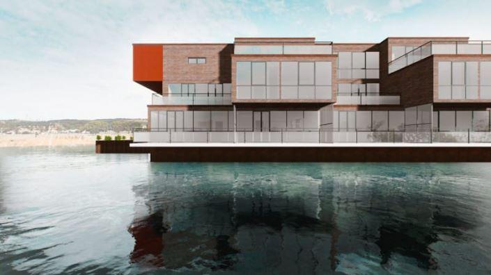 A imagem e uma renderizacao de uma casa na agua vista de frente aproveitando o ambiente de renderizacao em tempo real do Edificius