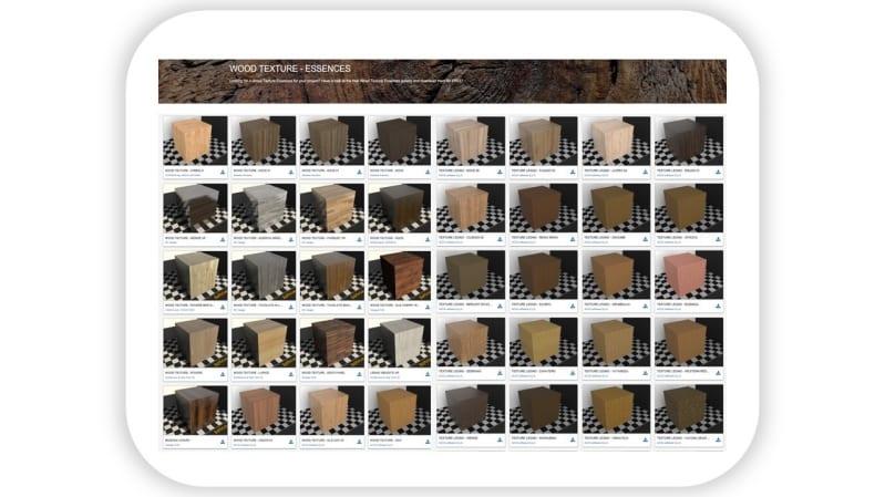 A imagem mostra várias texturas na biblioteca on-line do Edificius
