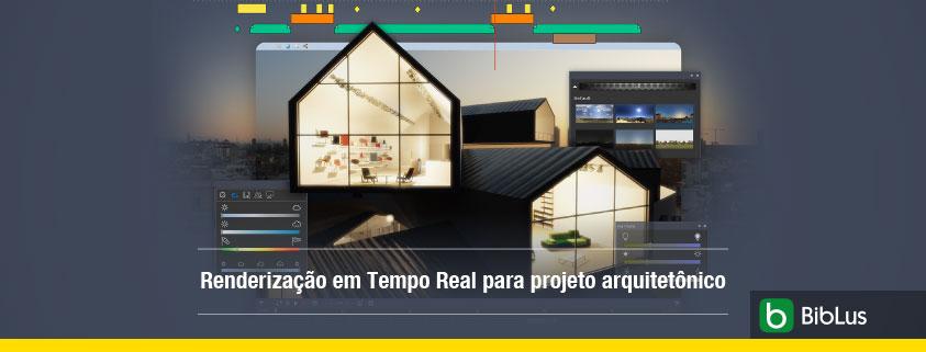 A imagem mostra uma casa com as janelas iluminadas e trata do ambiente de renderizacao em tempo real do Edificius