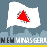 """A imagem mostra a bandeira do Estado brasileiro de Minas Gerais com o titulo """"BIM em Minas Gerais"""""""
