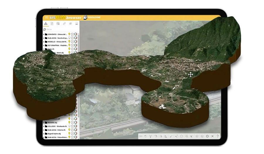 A imagem mostra um mapa teritorial que consta da federacao de varios modelos de grande porte com o usBIM