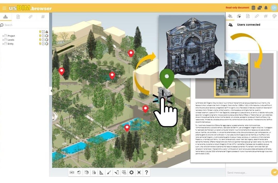 A imagem mostra os jardins de Villa d'Este visualizados dentro do usBIM.browser. A imagem mostra o icone de uma mao clicando numa fonte e, no lado esquerdo, uma ficha tecnica do objeto. A imagem pretende representar os beneficios do BIM para gestao do patrimonio historico