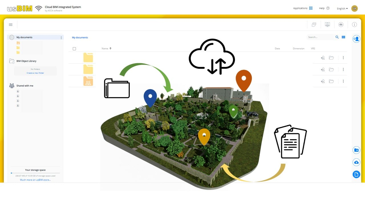 A imagem mostra uma interface do sistema integrado usBIM para aplicacao do BIM ao patrimonio historico