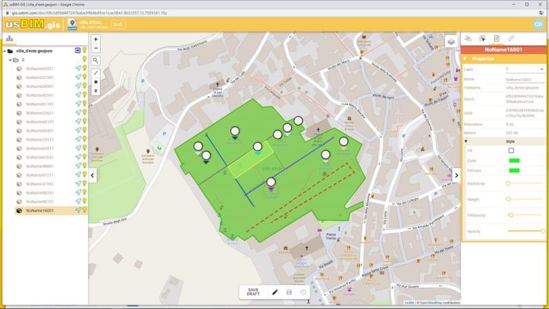 A imagem mostra um mapa tematico GIS dos jardins de Villa d'Este