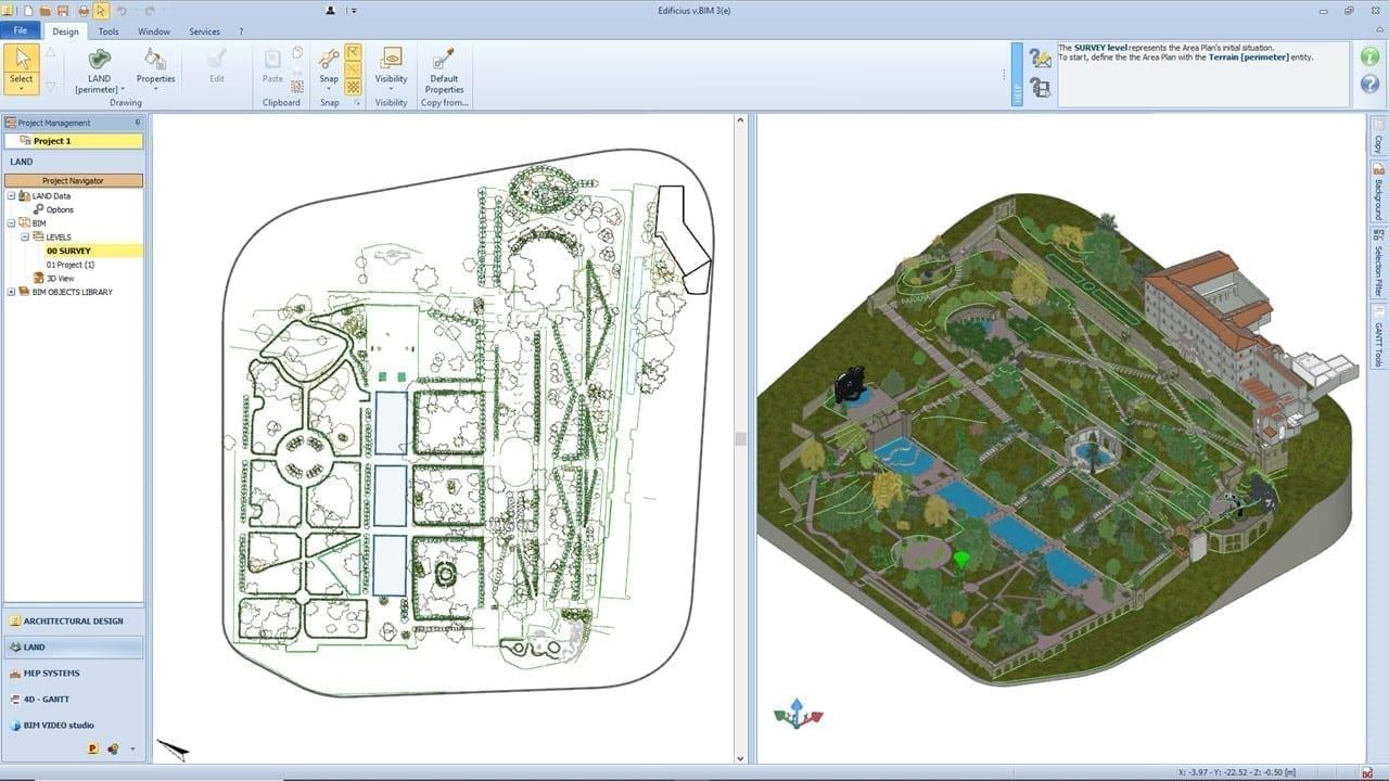A imagem mostra a interface do software Edificius e seu ambiente Terreno. Ele apresenta uma modelagem do parque de Villa d'Este, sendo assim uma aplicacao do BIM para patrimonio historico