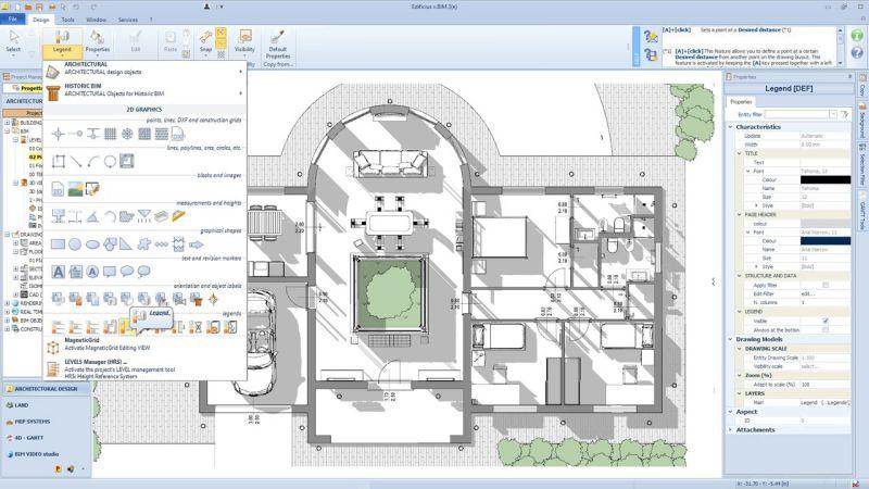 A imagem mostra a interface e o menu dos objetos do Edificius BIM 3(e)