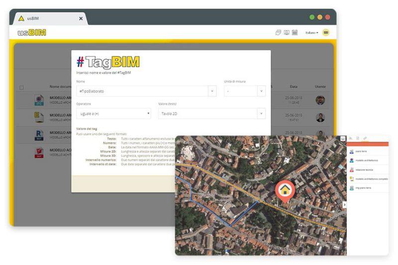 A imagem mostra a interface do usBIM, o sistema da ACCA para gestao documental BIM. A imagem mostra como georreferenciar um documento a um mapa territorial