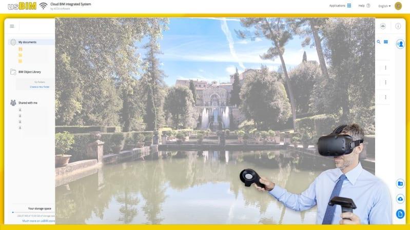 A imagem mostra um homem com oculos de realidade virtual e, no fundo, a imagem dos jardins de Villa d'Este dentro do usBIM. A imagem pretende representar os beneficios do BIM para gestao do patrimonio historico