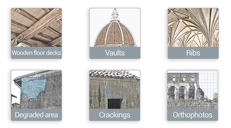 A imagem mostra alguns objetos HBIM incluídos no Edificius