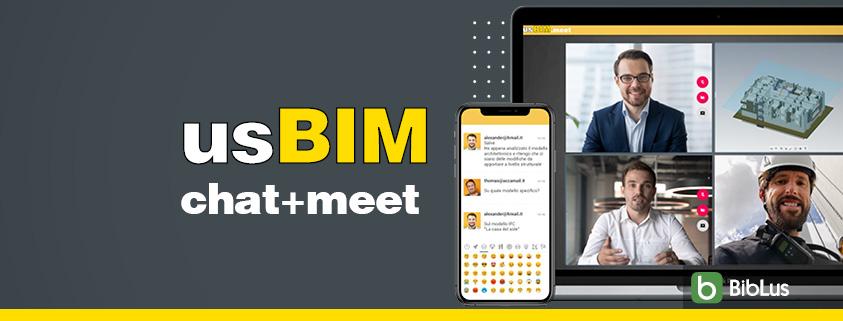 A imagem mostra os aplicativos para trabalho colaborativo usBIM.chat e usBIM.meet