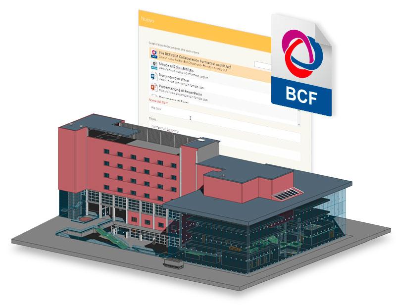 A imagem mostra o modelo de um edificio e o logo do formato BCF. A imagem representa o usBIM.bcf, um dos 10+1 aplicativos de construção gratis da ACCA