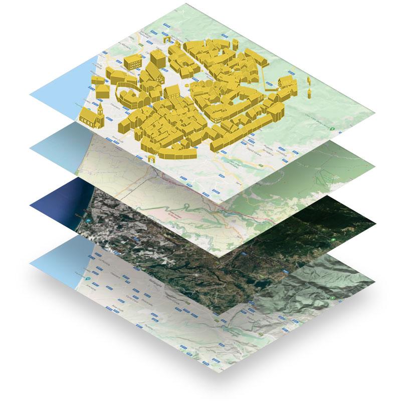 A imagem mostra varios mapas GIS sobrepostos