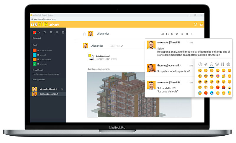 A imagem mostra a interface do usBIM.chat