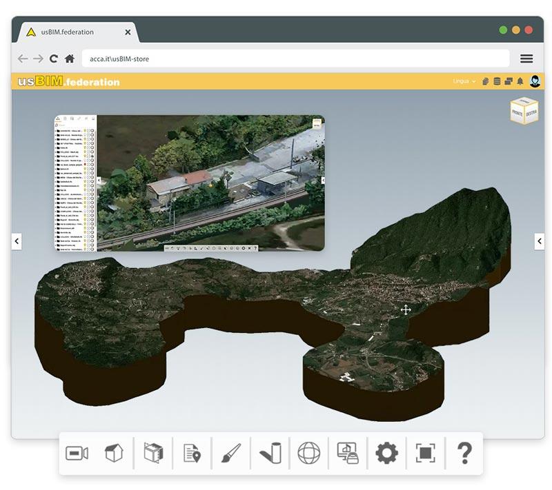A imagem mostra uma federacao de modelos IFC dentro do usBIM.federation