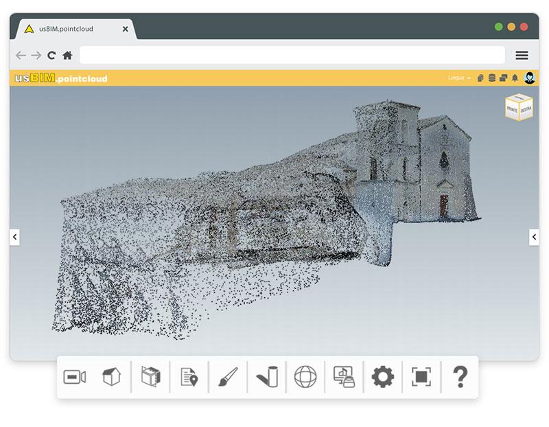 A imagem mostra uma nuvem de pontos dentro do usBIM.pointcloud, um dos 10+1 aplicativos de construção gratis para gerenciamento de projetos de construcao