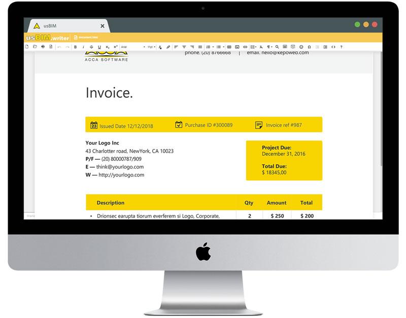 A imagem mostra a interface do usBIM.writer, um dos 10+1 aplicativos de construção gratis da ACCA