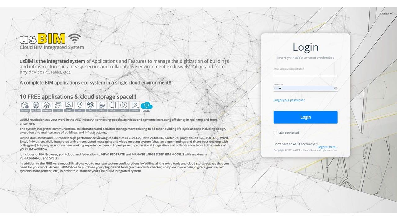 A imagem mostra a tela de acesso ao usBIM, o sistema integrado de aplicativos da ACCA software.