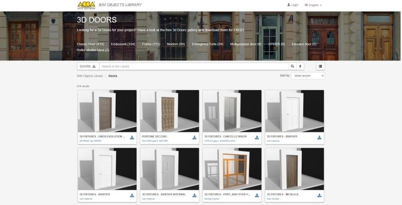 A imagem mostra a interface da biblioteca de objetos BIM da ACCA software