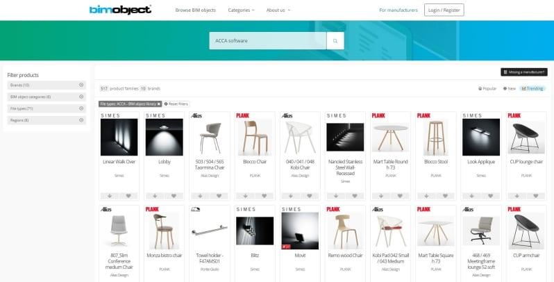 A imagem mostra a interface da biblioteca de objetos BIM do BIMobject