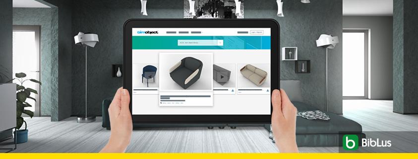 A imagem mostra uma combinacao de interfaces Edificius e BIMobject