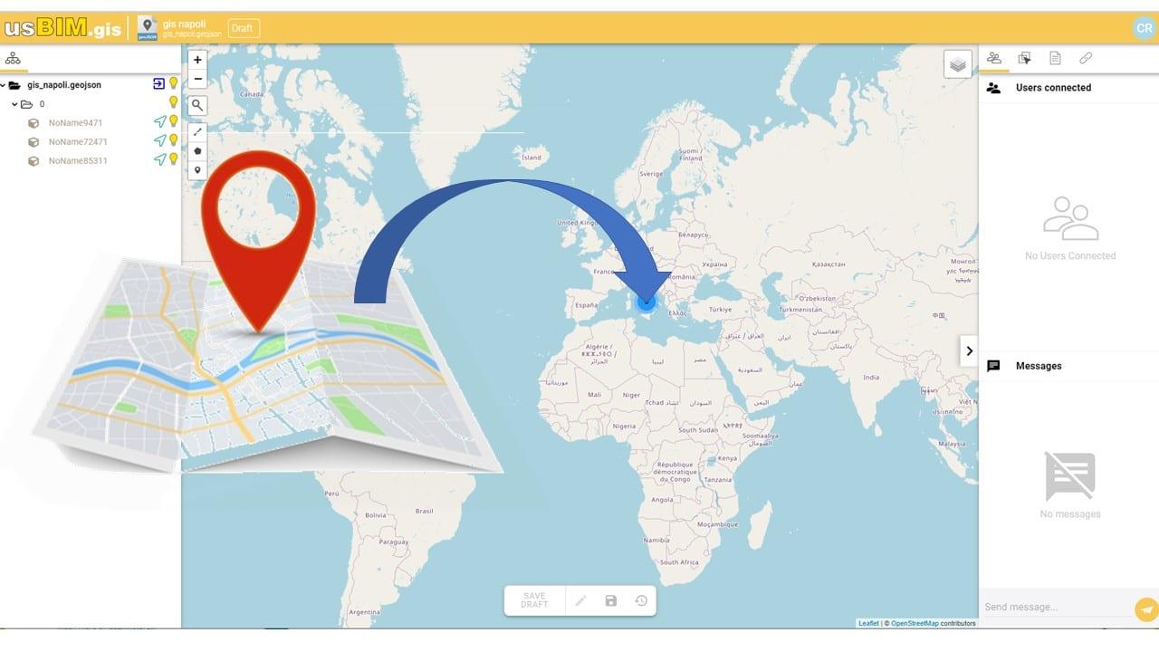 A imagem mostra a abertura de um arquivo GeoJSON no usBIM.gis