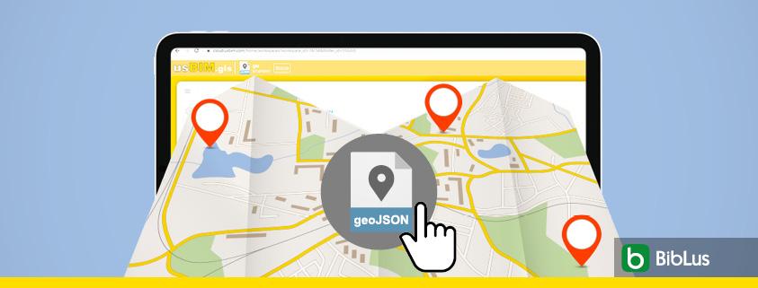 A imagem mostra um arquivo GeoJSON com interface do usBIM.gis