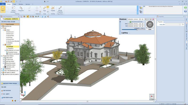 A imagem mostra o modelo BIM de um edificio historico realizado com Edificius