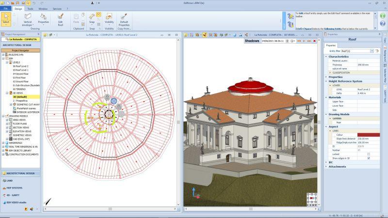 A imagem mostra a modelagem do telhado de um edificio historico