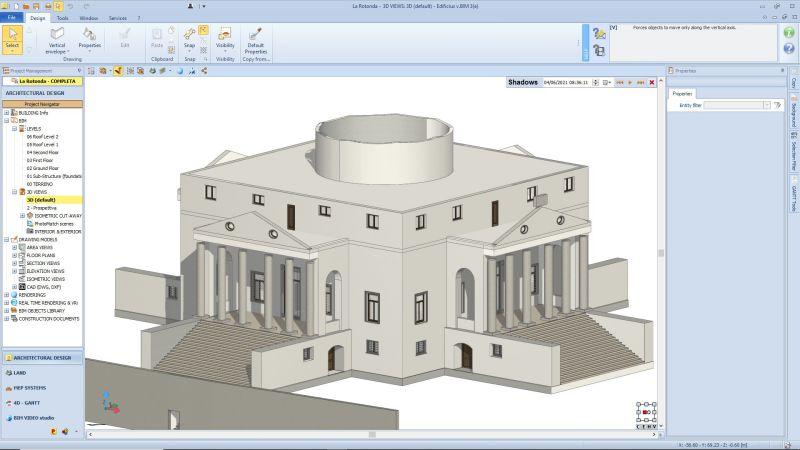 A image mostra a modelagem 3d de um edifico historico realizado com o software BIM Edificius