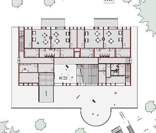 A imagem mostra uma planta do andar terreo de um projeto de escola realizado com o software para projeto arquitetonico Edificius