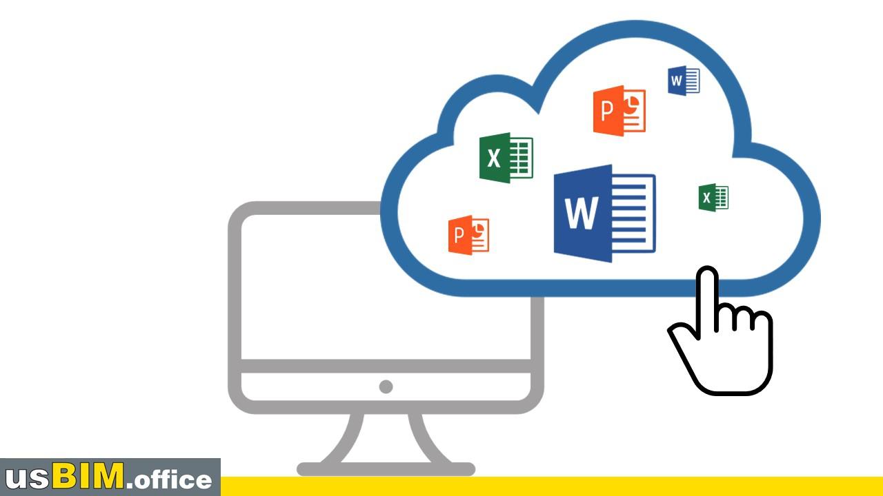 A imagem mostra o ícone de uma mão clicando em uma nuvem que contém os logótipos dos principais produtos do pacote Office: Word, PowerPoint, Excel, e outros.