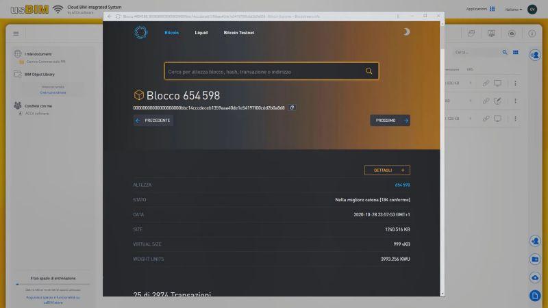 A imagem mostra as informações sobre o certificado obtido para registrar arquivo na blockchain