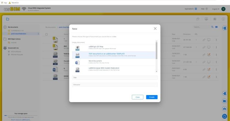 A imagem mostra a interface de usBIM.writer, aplicativo para redigir e compartilhar documentos online