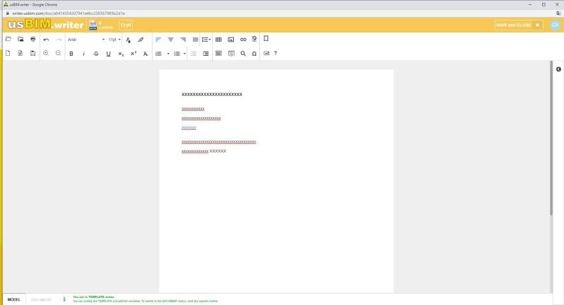 A imagem mostra a interface do usBIM.writer, aplicativo para redigir e compartilhar documentos online