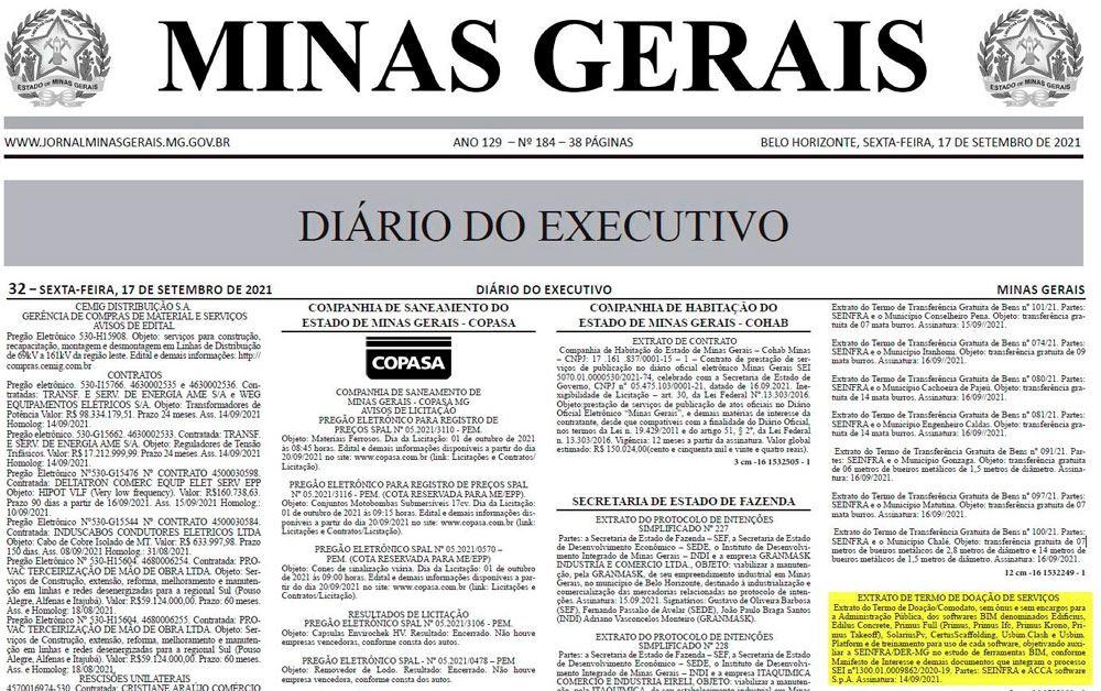 A imagem mostra a mencao do termod e doacao entre a ACCA e o SEINFRA MG no Diario Do Executivo de MG