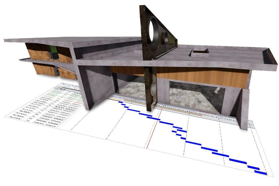 A imagem mostra um modelo BIM com diagrama de Gantt
