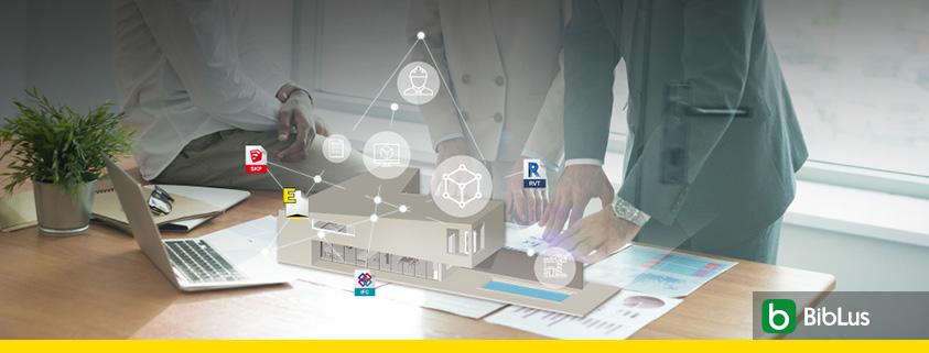 A imagem se refere ao conceito do BIM, Building Information modeling